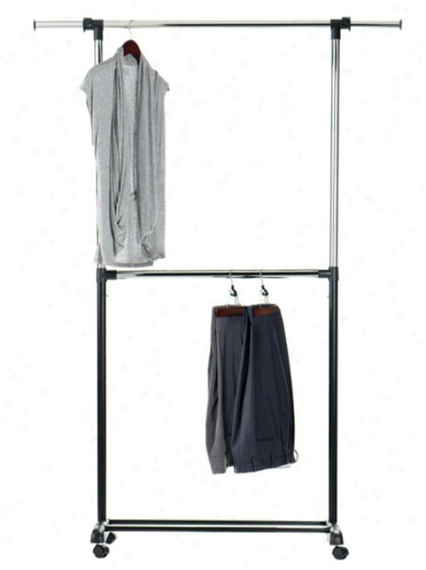 """adjustable 2-rod Garment Rack - 73""""hx36""""wx17""""d, Silver Chrome"""