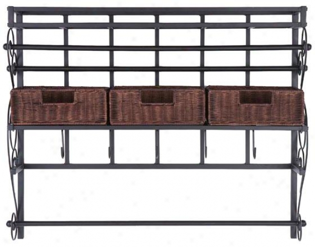 """adrian Wall Miunt Craft Storage Rack - 28h X 36w X 9""""d, Black/wood Tone"""