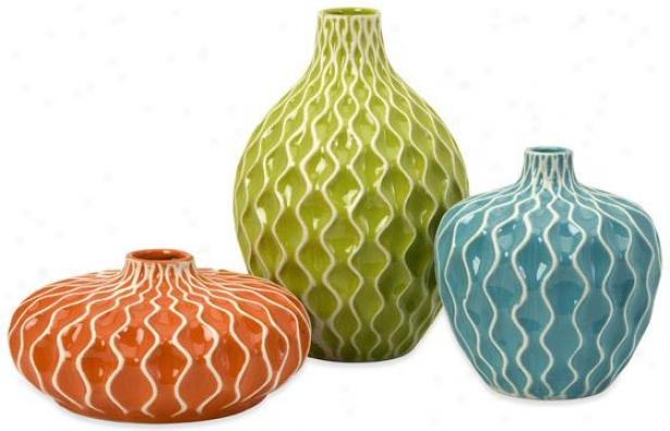 Agatha Ceramic Vases - Set Of 3 - Concrete Of 3, Multi
