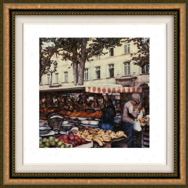 """aix En Provence Framed Wall Art - 32""""hx32""""w, Floated Gold"""