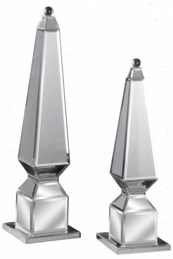 """alanna Finials - Set Of 2 - 24""""hx6""""w, Silver"""