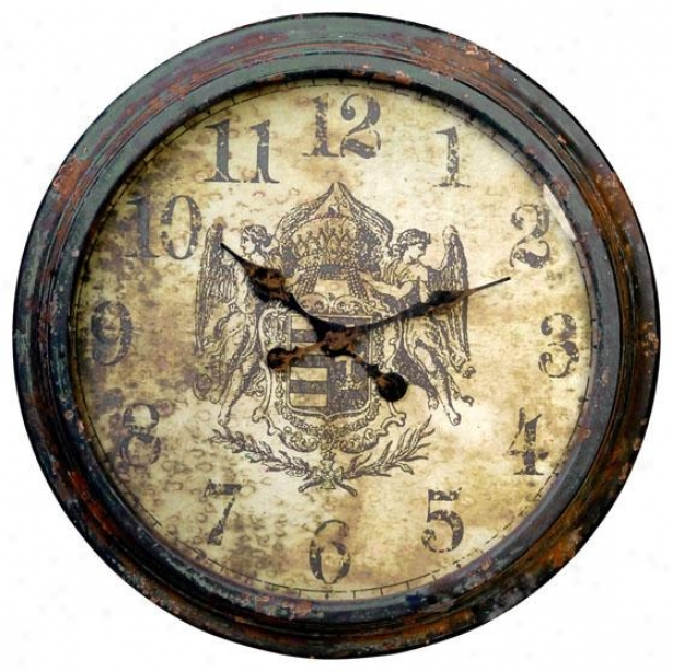 """albertine Wall Clock - 25 X 3"""", Distressed Grn"""