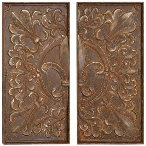 Alexa Wall Decor - Set Of 2 - Set Of Two, Brown