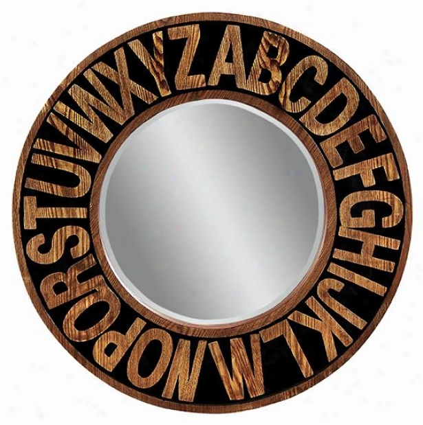 Alphabet Wall Reflector - 36hx36w, Western Oak