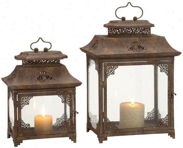 Ambrosia Lantern - Set Of 2 - Set Of Two, Bronze