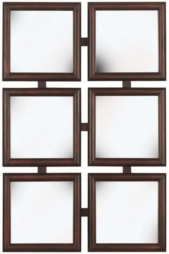"""ambrosia Wall Mirror - 38h X 25""""w, Brown Wood"""