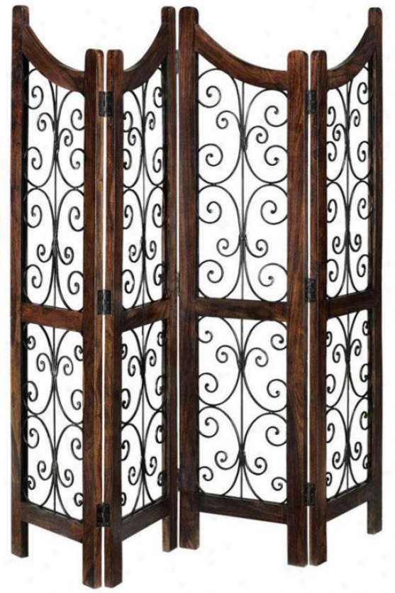 """ananti Room Divider - 72""""hx70""""w, Brown Wood"""