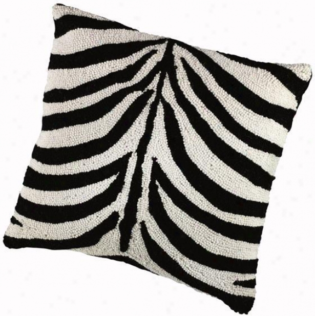 """animal Designn Hooked Pillow - 16""""sq, White"""