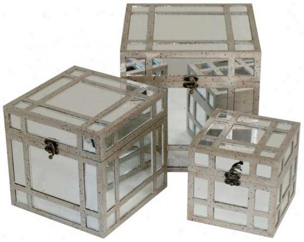 Anja Boxes - Set Of 3 - Set Of Three, Antique Mirror