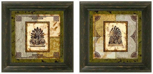 Antefix Framed Walo Art - Set Of 2 - Set Of Two, Green