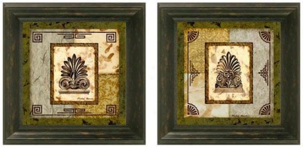 Antefix Framed Walo Art - Set Of 2 - Set Of Two, Green