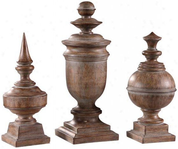 Antique Finials - Set Of 3 - Set Of 3, Brown