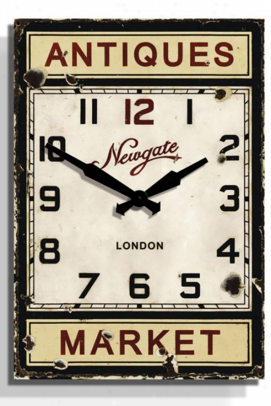 """antique Market Wall Clock - 24.5"""" X 17x1.75, Black"""