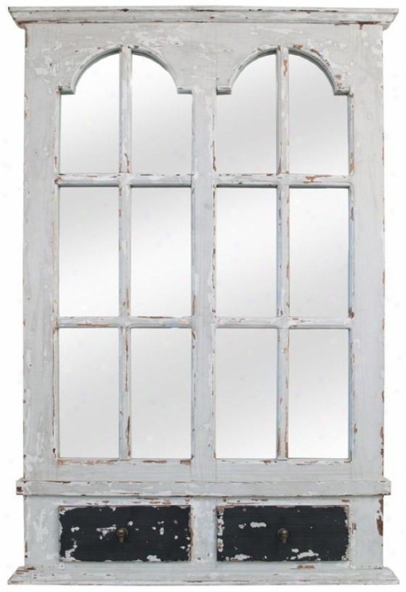 Antiqued Wood Wall Mirror - 48hx48w, White