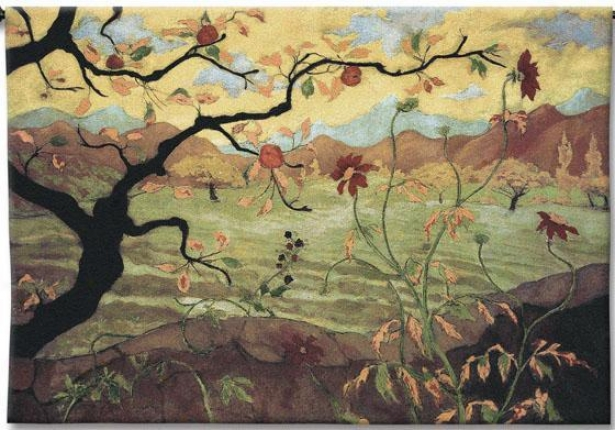 """apple Tree With Red Fruit Tapestry - 38""""hx53""""w, M8lti"""