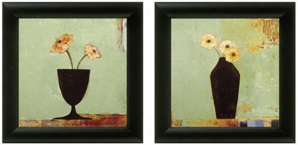 Aqua Floral Fdamed Wall Art - Set Of 2 - Set Of Two, Green