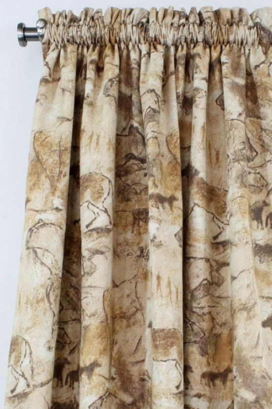 """archaeology Collection Curtain Panels - Rod Pocket Unlined Panel, 54x108""""x, Archaeology Imbrown"""