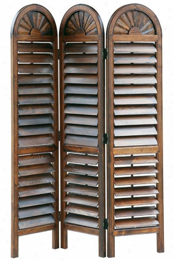 """arched-top Venetian Room Divider - 72""""hx54""""w, Brown"""