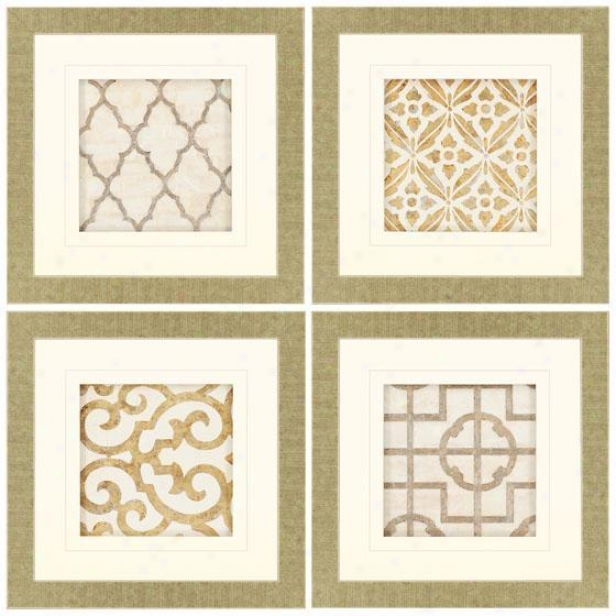 Archives Wall Trade - Set Of 4 - Set Of 4, Beige