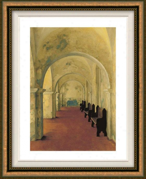 """arcos Antiguas Framed Wall Art - 38""""hx32""""w, Floated Gold"""