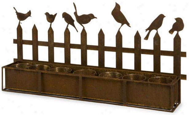 Ardene Iron Bird Planter - 14.75hx31.75w, Brown