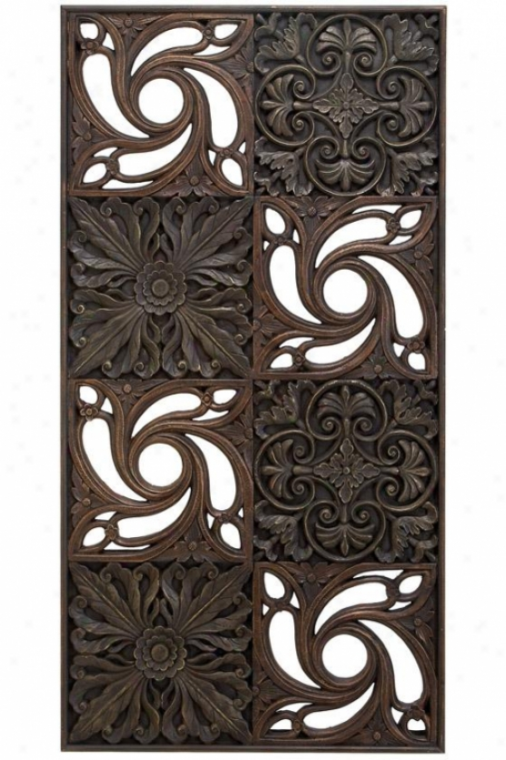 """artan Wall Plaque - 49h X 25w X 2""""x, Brown"""