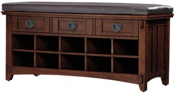 """artisan Court With Shoe Storage - 42wx16dx20h"""", Brown Oak"""