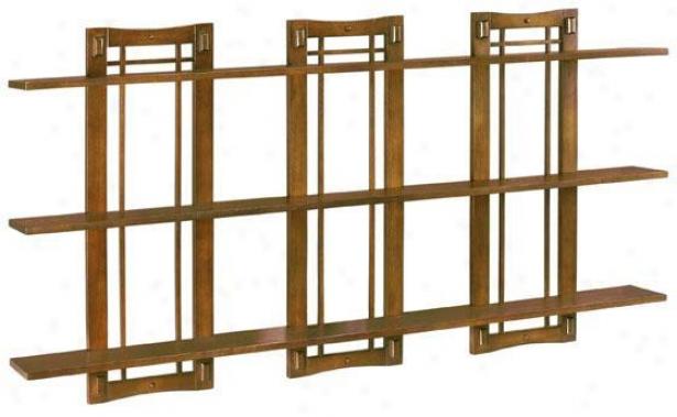 Artisan Triple Open-panel Wall Shelf - Triple 3-shelf, Brown