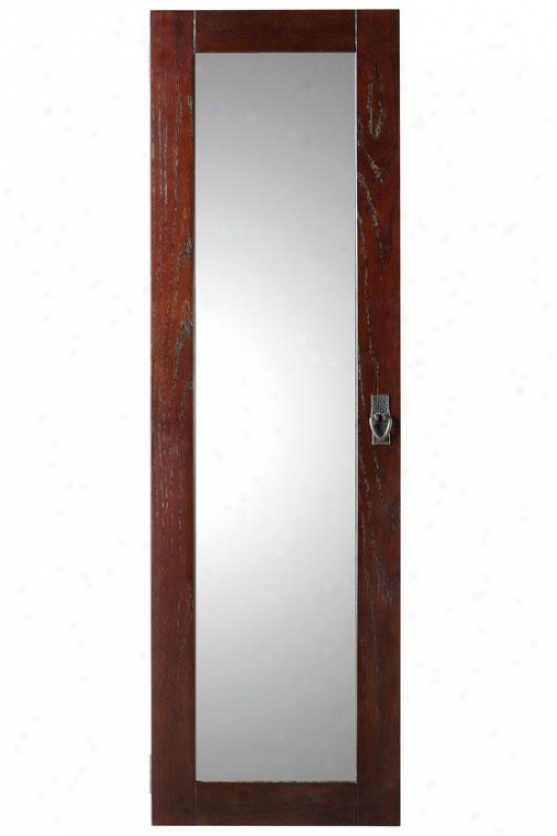"""artisan Wsll Mount Jewelry Armoire Upon Mirror - 48.5hx14.5wx4d"""", Brown Oak"""
