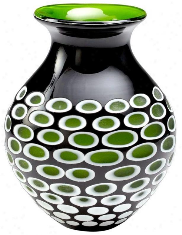 """ashbury Vase - 9""""hx7""""round, Green/blk/white"""