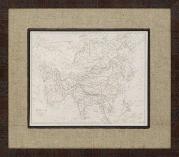 Asia And Africa Maps Framwd Wall Art - Set Of 2 - Stud Of Two, Tan