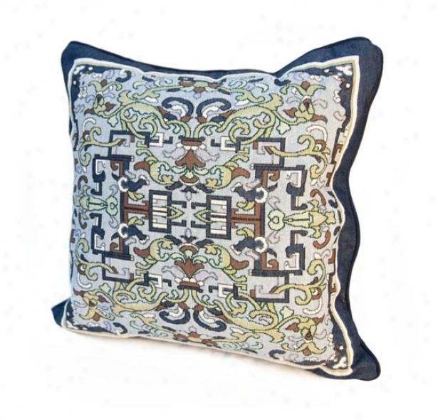 Asian Ornament Decorative Pillow - 5hx18wx4d, Blue