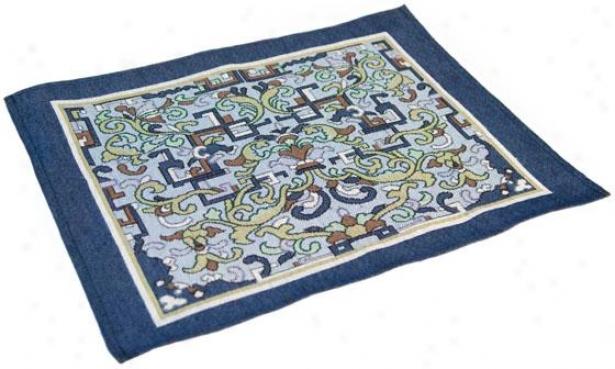 Asian Ornament Table Linens  -Place Mat Set Of 4x, Blue