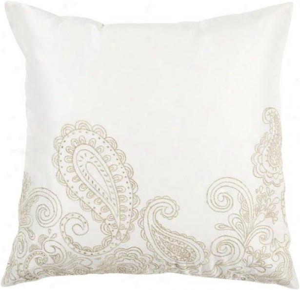 Aubrey Decorative Pillow - 18hx18w Poly, White/tan