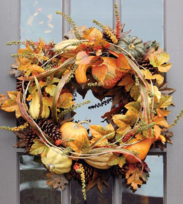 """autumn Gathering Wreath - Garland 24""""d, Orange"""