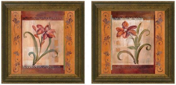 Autumn Lily Framed Wall Cunning - Set Of 2 - Set Of Two, Burgundy