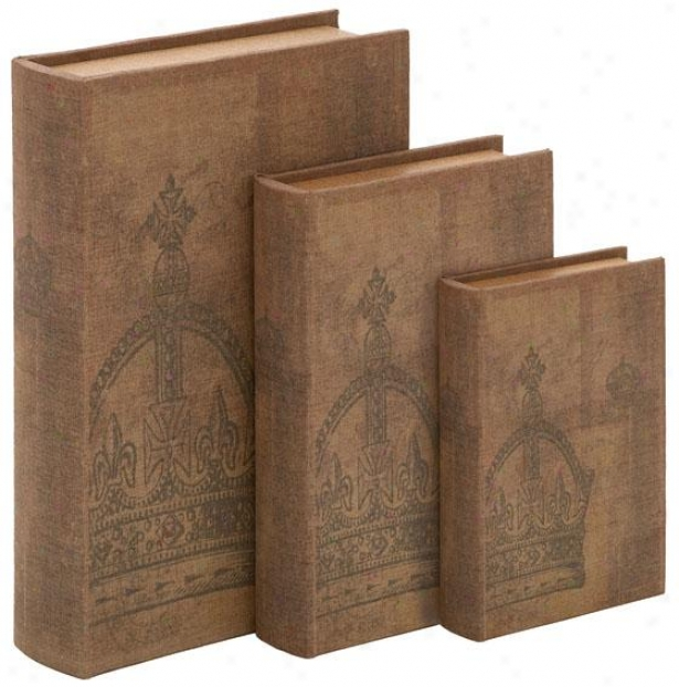 """avery Main division Box - Set Of 3 - S/3 13"""",11""""h, Brown Faux Leat"""
