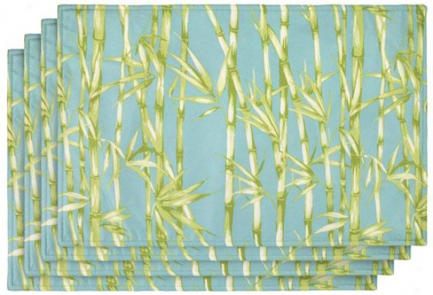 Bamboo Garden Placemats - Set Of 4 - Set Of Four, Seaspray/aqua