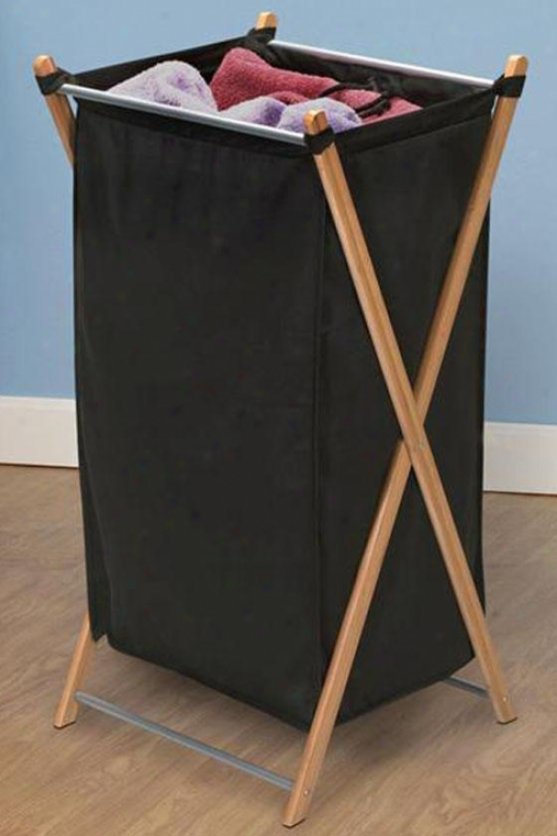 """bamboo X-frame Single Clothes Laundry Hamper - 32""""hx15""""w, Bmboo W/cnvs Bg"""