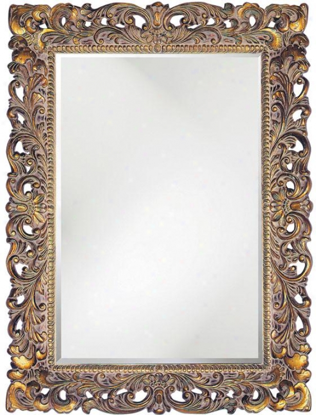 """barcelona Gold Leaf Mirror - 32""""hx46""""wx3""""d, Gold"""