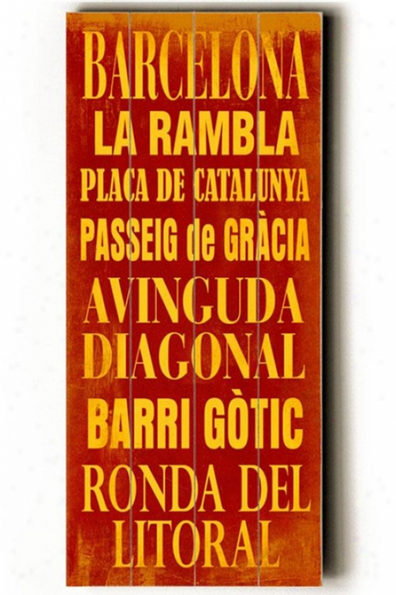 """barcelona Transit Wall Plaque - 24h X 10""""w, Red W/yellow"""