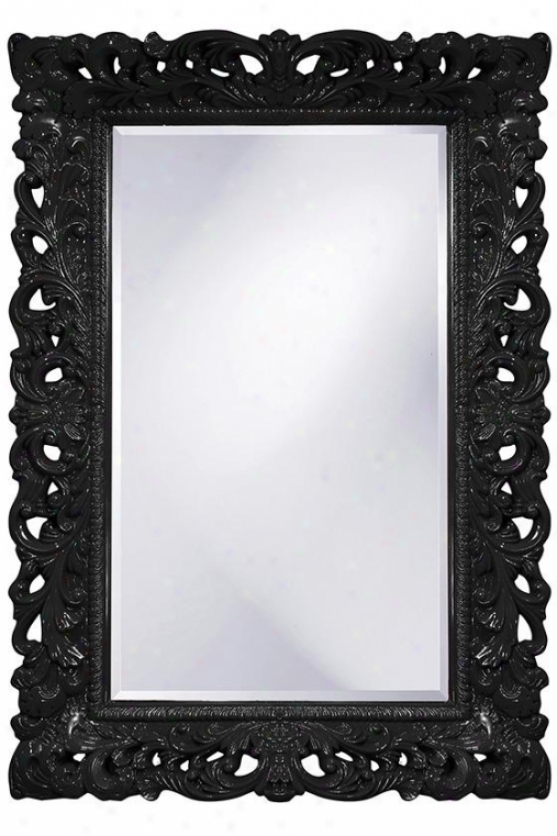 Barcelona Wall Mirror - 46hx322w, Black
