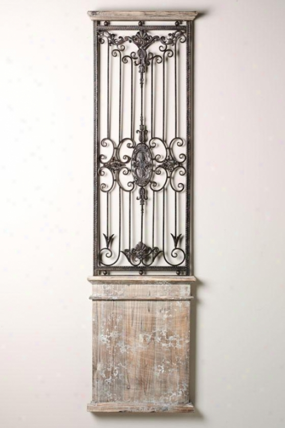 """baroness Wall Gate - 17""""h X 20""""w, Iron/wood"""