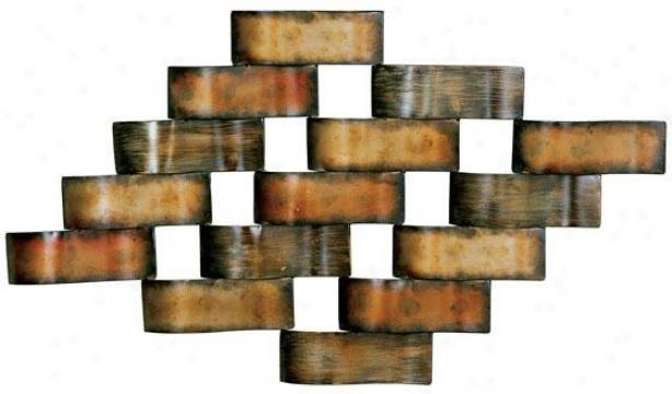 """basketweave Metal Wall Art - 19.25""""hx34""""w, Bronze"""