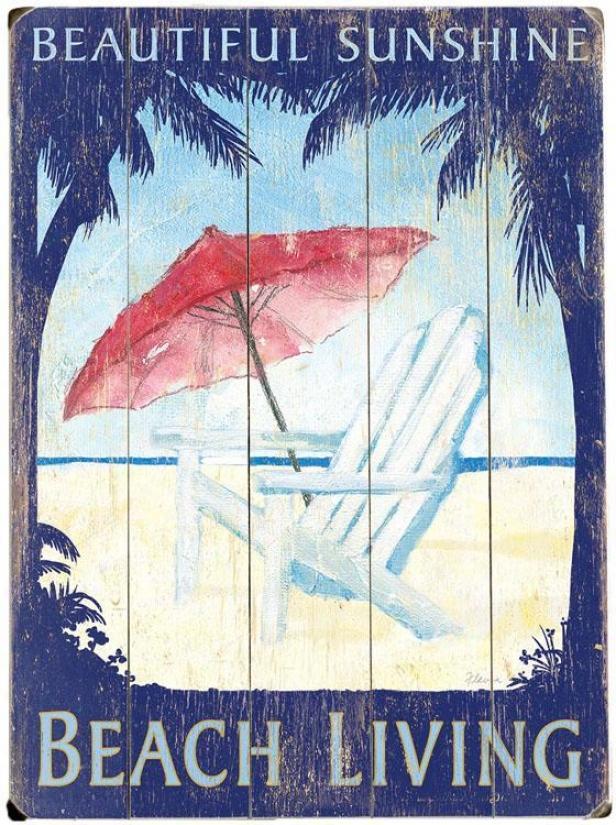 """beautiful Sunshine Beach Living Wooden Sign - 20""""hx14""""w, Blue"""