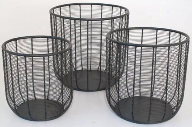 Bente Wire Baskets - Set Of 3 - Set Of Three, Black