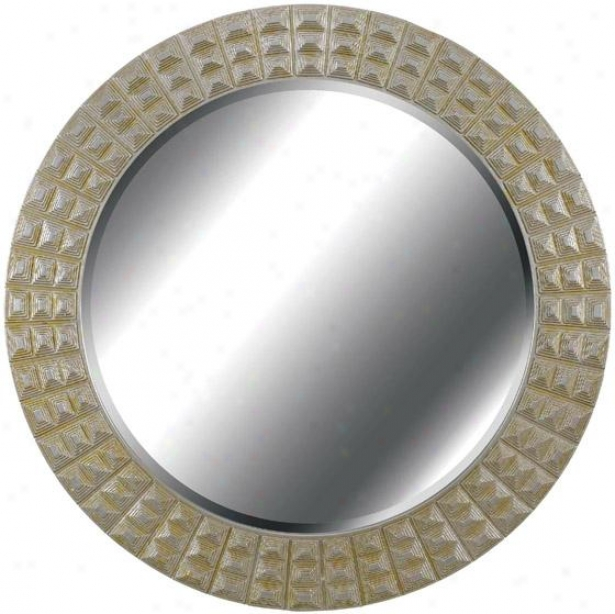"""bezel River Wall Mirror - 32"""" Round, Silver/gold"""