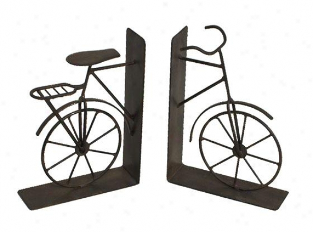 Bicycle Bookends - Set Of 2 - Set Of Two, Pumpkin