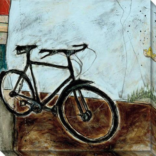 """bicycle I Canvas Wal1 Art - 40""""hx40""""w, Blue"""
