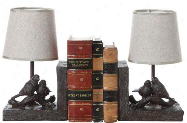 """bird Lamp Bookends - Set Of 2 - 10""""hx12.5""""wx5""""d, Brown"""